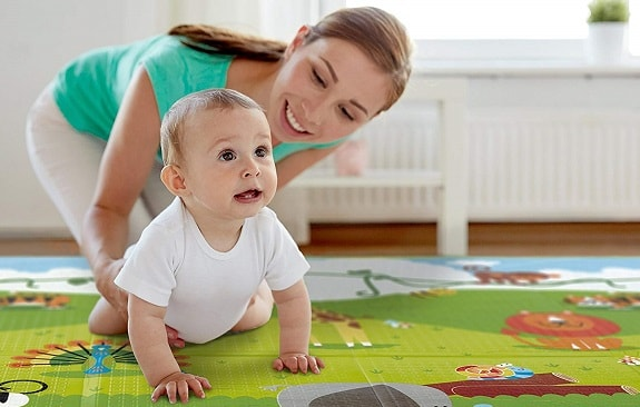 Mom With Baby During Tummy Time