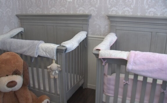 Separate Twin Cribs End to End Arrangement