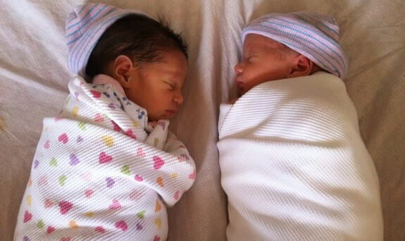 Twins Sleeping Same Crib Side By Side Vertical